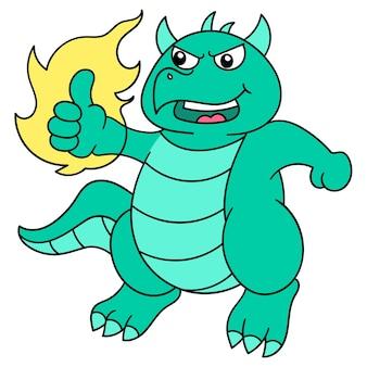 공룡은 좋은 음식, 벡터 일러스트레이션 예술에 대해 엄지손가락을 치켜듭니다. 낙서 아이콘 이미지 귀엽다.