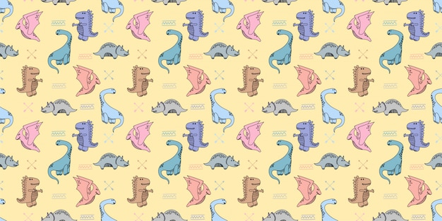 Dinosaurs handrawn doodle seamless pattern background wallpaper