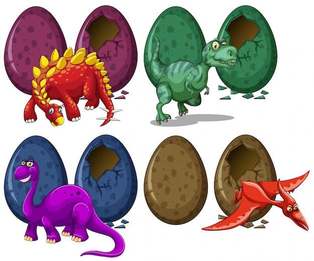 Динозавры, выводящие яйца на белом фоне