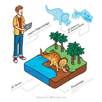 Dinosaurs information with isometric view