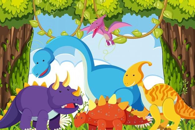 Dinosaurs in jungle scene