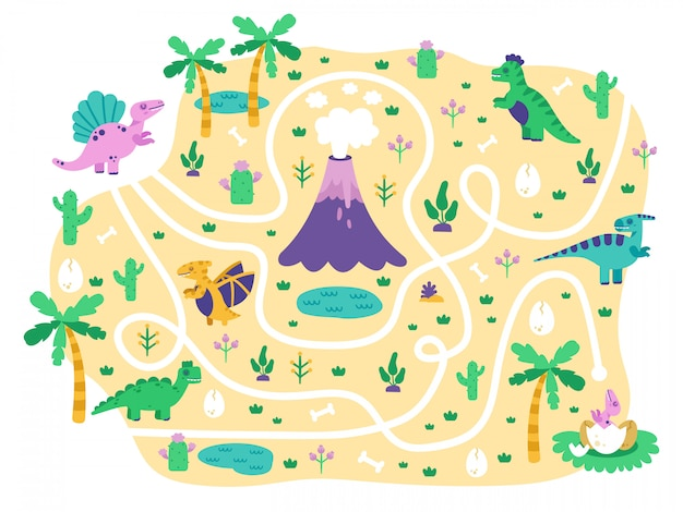 Dinosaurs kids maze. dino mom find eggs childrens game, cute doodle dino educational jurassic park maze puzzle game,   illustration. dinosaur in labyrinth and maze path for play