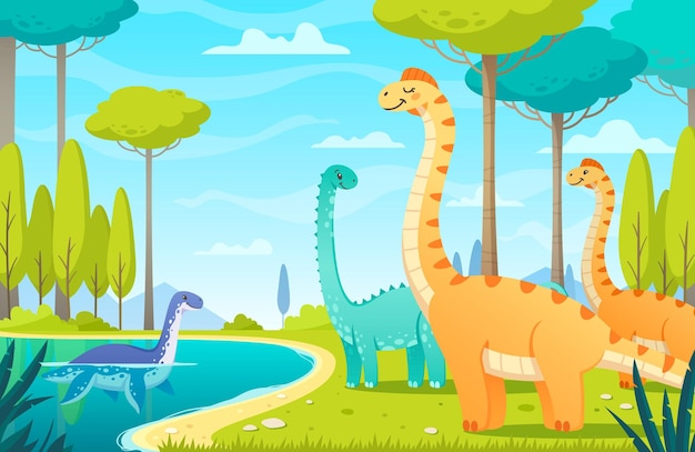 Dinosaurs in the lake illustration