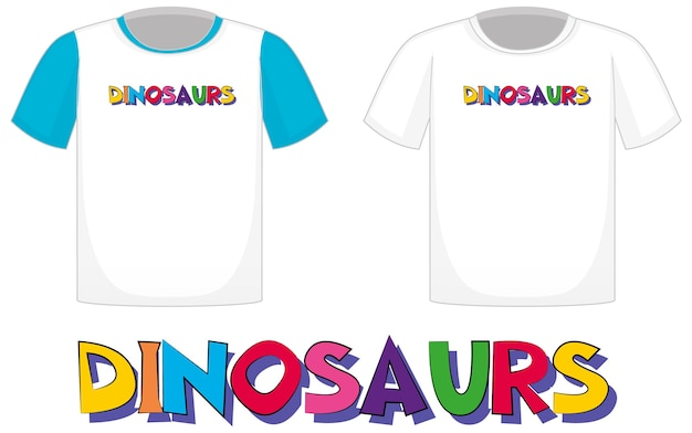 Dinosaurs logo on different white shirts isolated on white background
