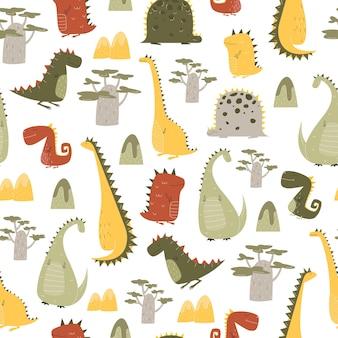 Шаблон динозавров в мультяшном стиле