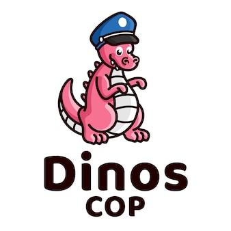 공룡 경찰 귀여운 아이 로고 템플릿