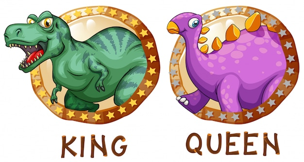 Dinosaurs on round badges
