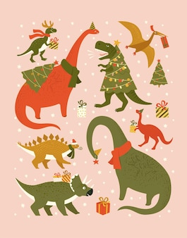 Dinosaurs in santa hat decorates christmas tree garland lights Premium Vector