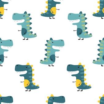 白い背景の上の恐竜のシームレスなミニマルなパターン。子供のイラスト