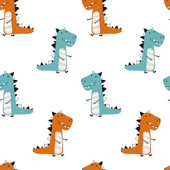 Бесшовные минималистичный узор динозавров на белом фоне. детская иллюстрация