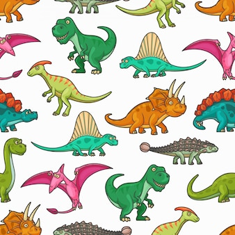 Dinosaurs seamless pattern of jurassic animals