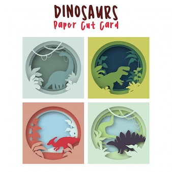 Dinosaurs set in cartoon paper cut art colorful cute baby illustration for a children's room
