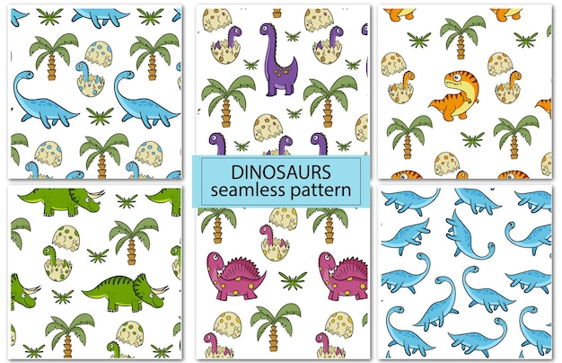 Dinosaurs. set of colorful seamless patterns for decorating a children's room, fabric or textiles. vector cartoon style.