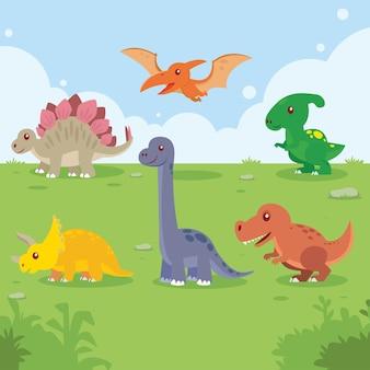 Набор динозавров в мультяшном красочном милом ребенке для детской комнаты