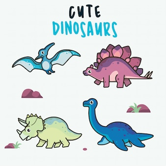 Динозавры в мультяшном красочном милом ребенке иллюстрации для детской комнаты