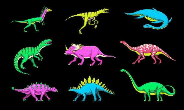 Dinosaurs set tyrannosaurus rex triceratops barosaurus diplodocus velociraptor triceratops