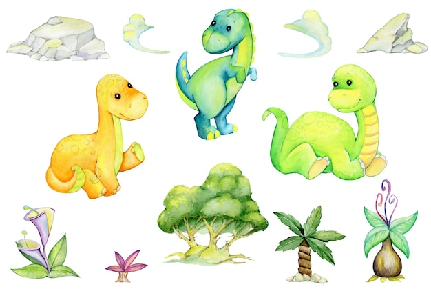 Dinosaurs, trees, palm trees, clouds, flowers. a set of elements.