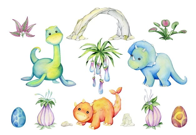 Dinosaurs, trees, palm trees, clouds, flowers, stones. set of elements
