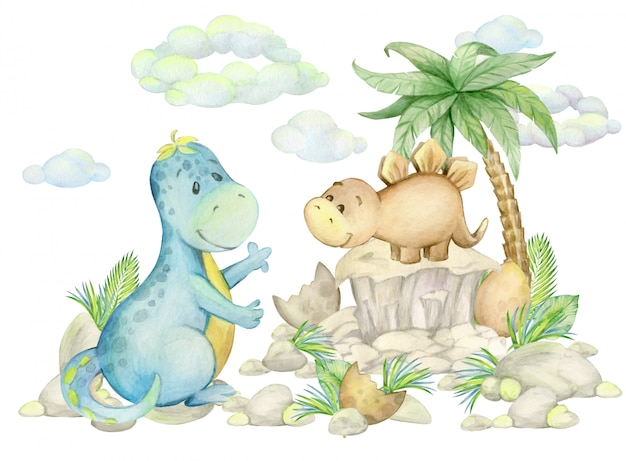 Dinosaurs, tropical leaves, pine trees, clouds, rocks. watercolor prehistoric world, on an isolated background.