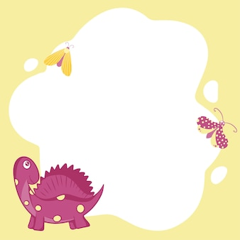 恐竜。フラットな漫画スタイルのスポットの形でベクトルフレーム。子供の写真、はがき、招待状のテンプレート。