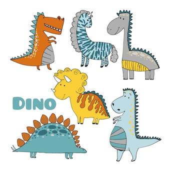 Векторный набор динозавров в мультяшном скандинавском стиле.