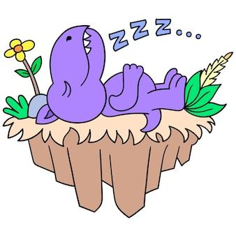 공룡은 날아다니는 땅, 벡터 일러스트레이션 아트에서 푹 자고 있었습니다. 낙서 아이콘 이미지 귀엽다.