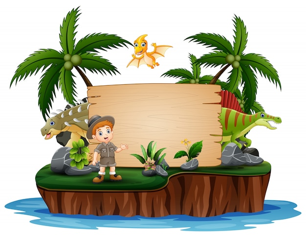 Dinosaurs with zookeeper on island