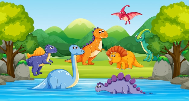 Dinosaurs in wood scene with river