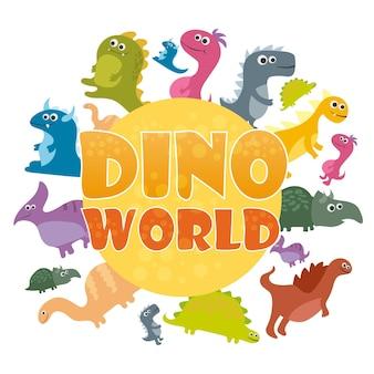 공룡의 세계 포스터. 벡터 만화 공룡 로그