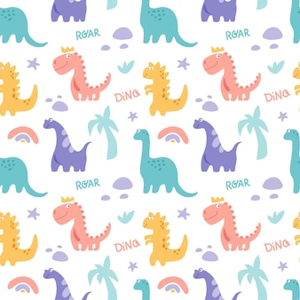 Dinosaurus cute  seamless pattern with rainbow palm tree stone branch isolated on white