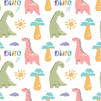 Dinosaurus cute  seamless pattern with sun baobab tree cloude quote dino isolated on white