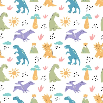 Dinosaurus cute seamless pattern with sun baobab tree volcano branch isolated on white