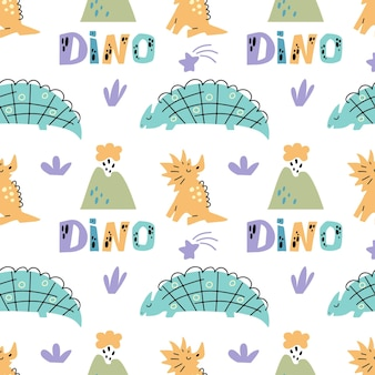 Dinosaurus cute seamless pattern with volcano plant quote dino isolated on white background