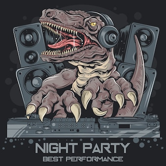 Dinosour trex dj music party