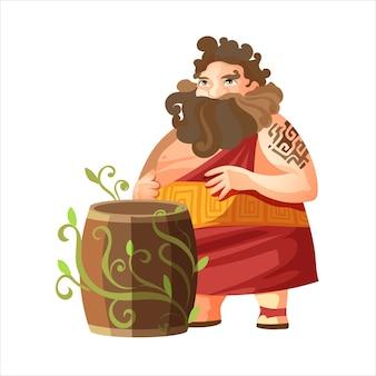 Дионис, древнегреческий бог вина. мифология древней греции. толстяк с бочкой вина. плоский рисунок. изолированные на белом фоне.