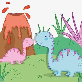 火山とかわいいdiplodocusカップル野生動物