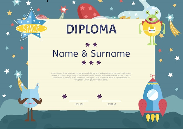 Diploma cartoon vector template