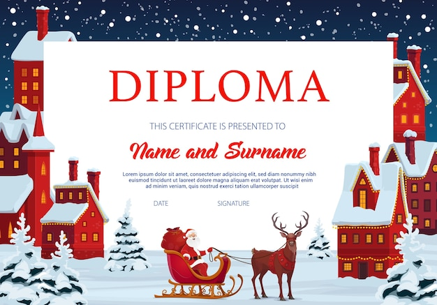 Diploma certificate of child education template with frame