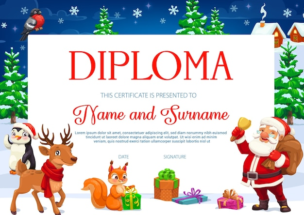 Diploma or certificate of children education with christmas cartoon characters. school or kindergarten graduation award, achievement certificate and appreciation gift with santa and xmas gifts