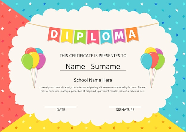 Diploma, certificate for kids