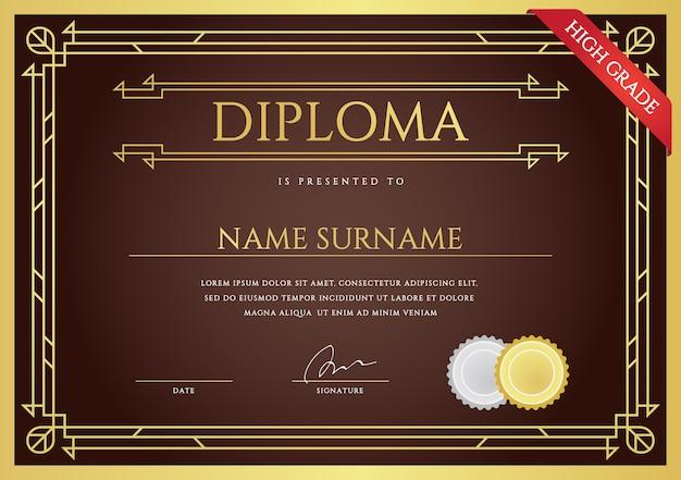 Diploma or certificate premium  template Premium Vector