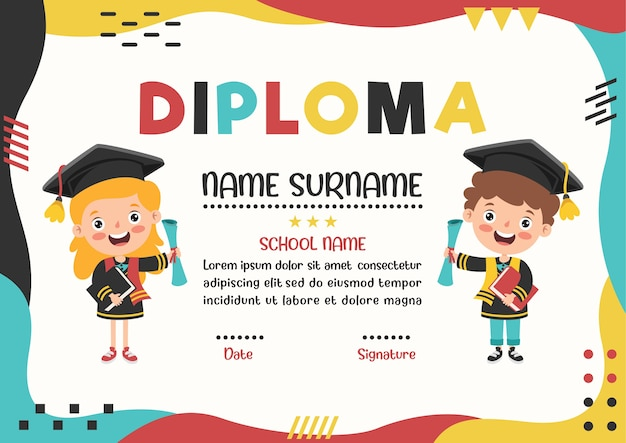Diploma certificate for preschool and elementary school kids