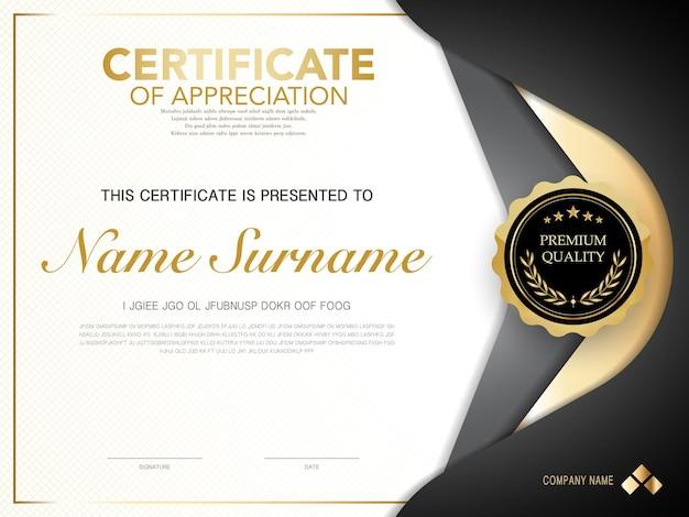 Шаблон сертификата диплома черного и золотого цвета с роскошным и современным векторным изображением стиля, подходящим для признательности. векторная иллюстрация.