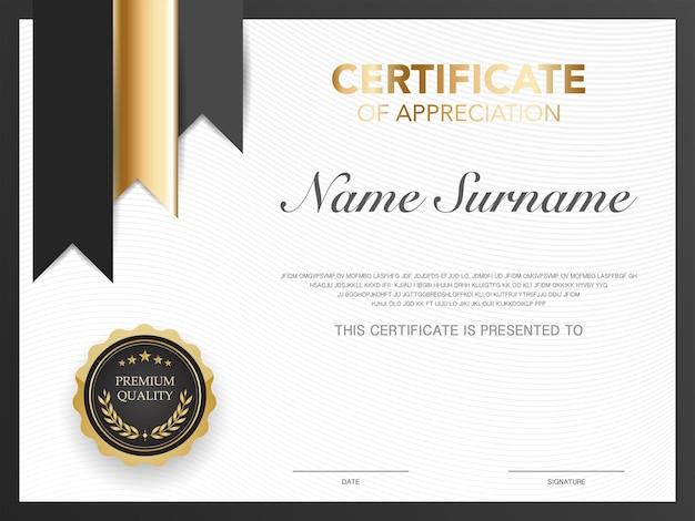 Шаблон сертификата диплома черно-золотого цвета с роскошным и современным стилем векторное изображение