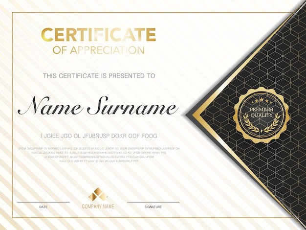 豪華でモダンなスタイルのベクトル画像と黒と金色の卒業証書証明書テンプレート