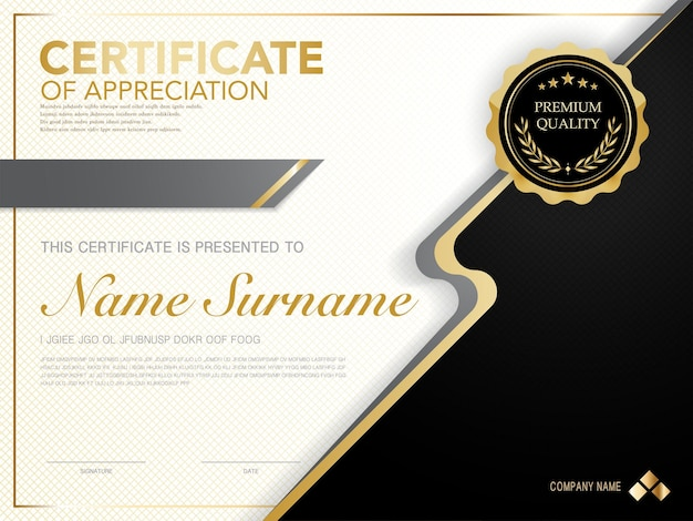 Diploma certificate template black and gold color with luxury and modern style vector image, suitable for appreciation.  vector illustration.