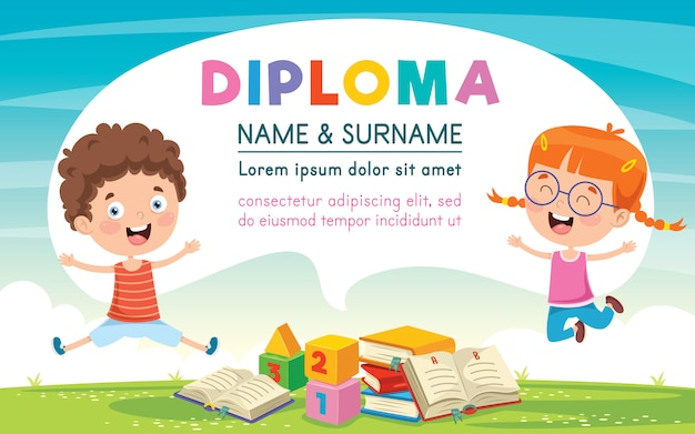 Diploma certificate template design for children education