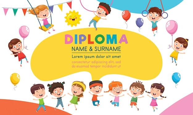 子供の教育のための卒業証明書テンプレートデザイン