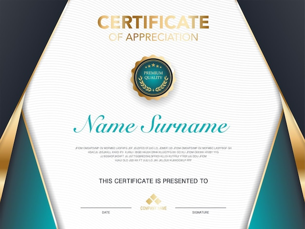 Diploma certificate template green and gold color with luxury and modern style vector image