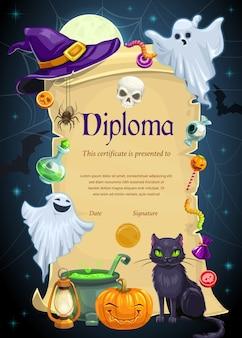 子供の教育の卒業証書テンプレート。小学校、幼稚園、または就学前の卒業証書は、ハロウィーンの休日の幽霊、カボチャ、魔女の帽子と猫のフレームでスクロールします
